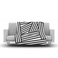 "Louise Machado ""Black Stripes"" Fleece Blanket, 80"" x 60"" - Outlet Item"