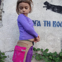 #Girls golden Ocher# Fuchsia #Hip Bag, OOAK, #Hand painted,Girls #Fanny Pack Back to School Bag,, Violet Belt Pocket, Fuchsia YKK Zipper