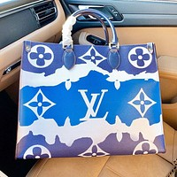LV New fashion monogram print leather shoulder bag handbag Blue