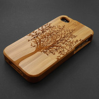 Buy 1 Get 1 Free - Tree Bamboo Wood iPhone 4 / 4S Case Cover - Wooden iPhone 4 Case - Unique iPhone4 Case Wood - iPhone 4S Phone Cases