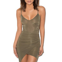 'Karma' Khaki Silky Jersey Draped Slip Dress - Mistress Rocks