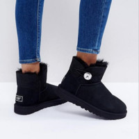 UGG Mini Bailey Button Black Women Fashion Wool Snow Boots