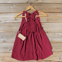 Sweet Thicket Ruffle Top in Wine
