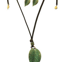 Green Textured Leaf Necklace Set
