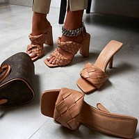 Women's shoes, high heels, featured woven sandals and slippers, hand-woven sandals