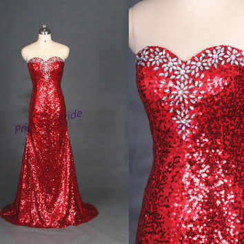 2015 long red sequins prom dress with rhinestones,sparkly women gowns for evening party,affordable graduation prom dress on sale.