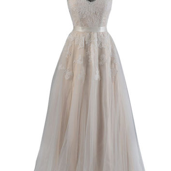 Champagne Wedding Dress With Cap Sleeves Am547