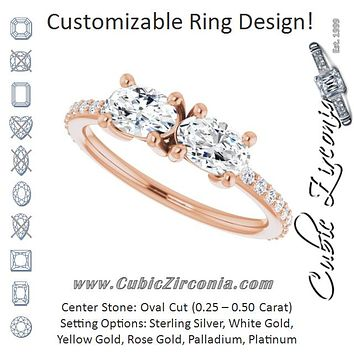 Cubic Zirconia Engagement Ring- The Minerva (Customizable Enhanced 2-stone Oval Cut Design with Ultra-thin Accented Band)
