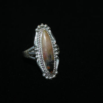 Size 10 Sterling Silver and Black adn White banded Agate Ring Vintage Sterling Silver Ring Free US Shipping