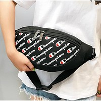 Champion New fashion more letter print couple crossbody bag shoulder bag Black