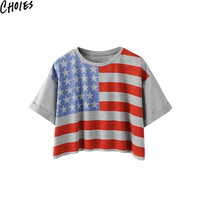 Women Multicolor American Flag Print Short Sleeve Sexy Crop Top Casual T-shirt 2016 New Arrivals Summer Round Neck Cotton Tops