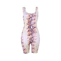 Hot Sale Unique Graphic Print Women Sleeveless Tank Pattern Tight Rompers