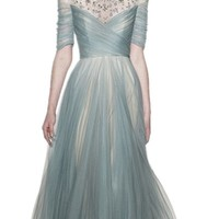 IBEAUTY DRESS Half Sleeve Beading Cocktail Long Evening Dress For Women Party