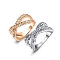 18K Gold Plated Channel Set Criss Cross Ring For Woman