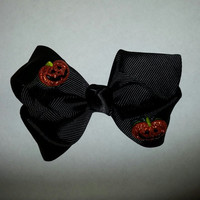 Black Pumpkin Halloween Hair Bow