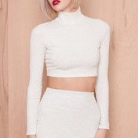 Don't Forget Knit Knitted Turtle Neck Crop Top Cream | LASULA