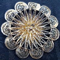 Cannetille Sterling silver brooch with filigree floral design Brooch Edwardian Victorian
