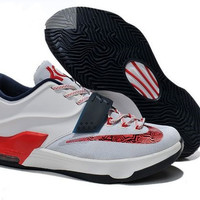 Nike KD 7 GS White Black Red Womens Sneakers