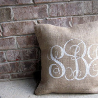 Burlap Pillow Cover with monogram- Initial pillow cover- Script Monogram pillow cover-16x16- burlap wedding gift- Personalized Pillow