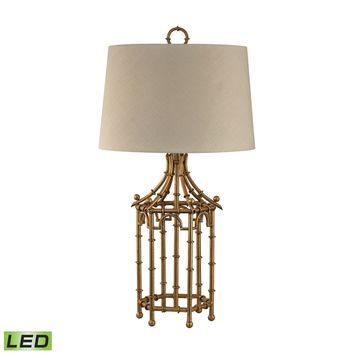 Bamboo Birdcage LED Lamp Gold Leaf