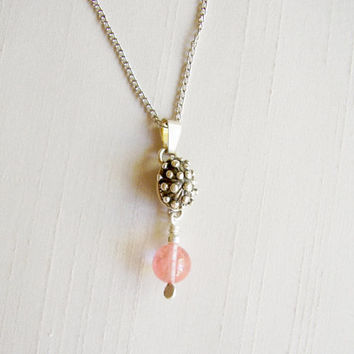 Sterling Silver and Rose Quartz Stone Pendant, silver plated chain - Delicate Necklace - Pink Pale Silver Pendant