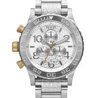 Nixon 42-20 All Silver Stamped Chronograph Watch