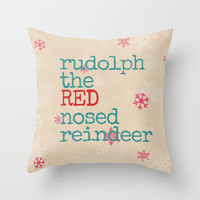 Rudolph the red nosed reindeer Throw Pillow by Sylvia Cook Photography