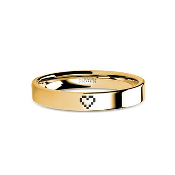 Retro Wedding Band 8-bit HP Heart Engraved Yellow Gold Tungsten