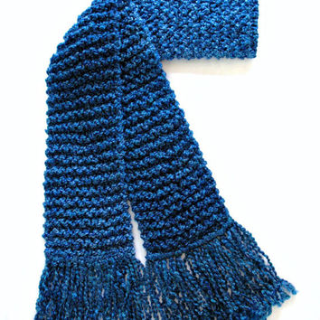Royal Blue Scarf Chunky Knit Men Women Hand Knitted Winter Scarf 6 ft Long
