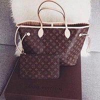 Inseva LV Louis Vuitton New Women Shopping Bag Leather Tote Handbag Shoulder Bag Purse Wallet Set Two-Piece