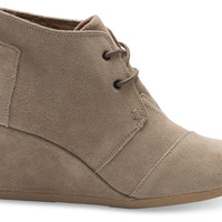 TOMS Desert Wedge Taupe Suede
