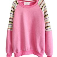 Mooncolour Women Girls Newest Splicing Knit Sleeve Crewneck Warm Fleece Pullover Sweatshirt