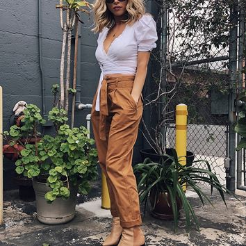 Belted Twill Pants