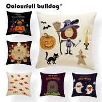 Cartoon Halloween Castle Pumpkin Throw Pillows Full Moon Lovely Ghost Cushion Cover Witch Hat Moon Pillowcase Holiday Decoration