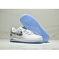 Nike Air Force 1 new style brand electric embroidery men's pure white sports shoes White+black logo