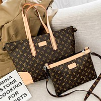 LV Louis Vuitton Letter Print Two-piece Backpack Messenger Bag Shopping Bag