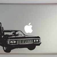 """Supernatural inspired Dean with Impala 13"""" Macbook Laptop Decal"""