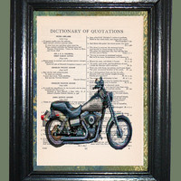 Silver 2007 FXDB Street Bob HD Motorcycle Art - Vintage Dictionary Book Page Art - Upcycled Page Art - Collage Mixed Media Art -