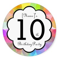 10th Birthday Party Sticker