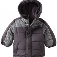 IXtreme Baby Boys' Promo Colorblock Palid Printed Puffer Jacket, Charcoal, 18 Months