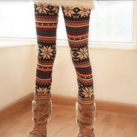 2014 fashion winter Women Fashion Snowflake Reindeer Knitted Warm Leggings Tights Pants New Trousers one size (Color: Black) = 1946934148