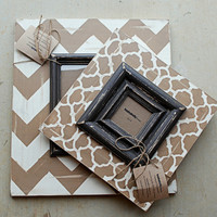 Neutrals in Chevron and Moroccan Print Saddle by hayleykellyframes