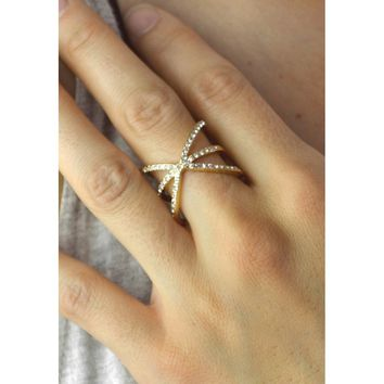 Crystal Orbit Ring Gold or Silver