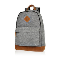 River Island MensGrey texturised print canvas backpack
