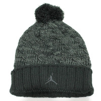 Jordan Youth's Knit Cable Black/Charcoal Grey Beanie Hat