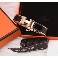 BNIB NEW HERMES CLIC H CLAC ENAMEL BANGLE BRACELET BLACK ROSE GOLD PLATED PM