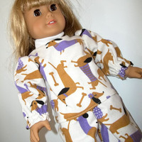 Dachshund Print Flannel Pajamas for American Girl Doll-Includes Fuzzy Lavender Slippers-Fits 18 Inch Dolls