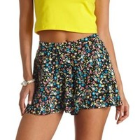 Flowy Floral Print High-Waisted Shorts - Black Combo