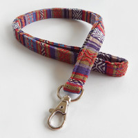 Woven Lanyard / Boho Keychain / Indian Blanket Inspired / Bohemian / Key Lanyard / Violet Purple / Woven Stripe Fabric / ID Badge Holder/Red