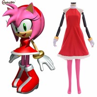 Anime Sonic The Hedgehog Amy Rose Rosy The Rascal Cosplay Women Girl Pink Dress With Gloves Costume Halloween Carnival Clothes